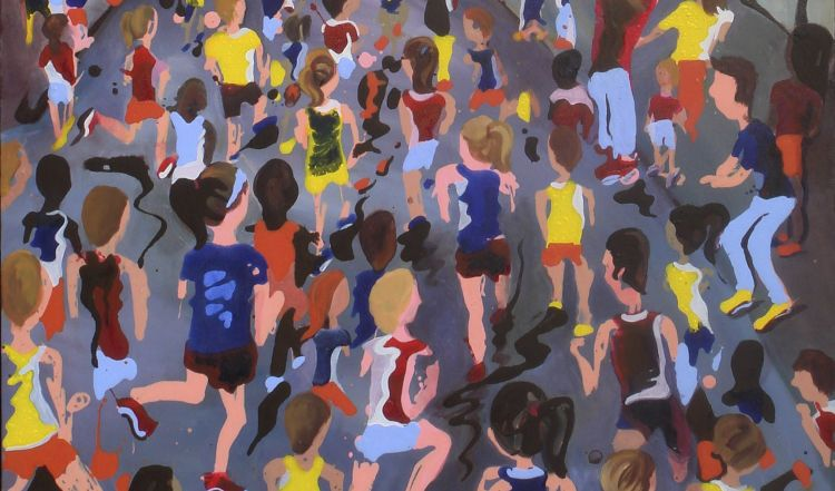 """In this April 2, 2015, photo provided by Hope Phelan, runners surge past Boston's iconic Citgo sign as they head toward the Boston Marathon finish in """"The Home Stretch,"""" a painting by Hope Phelan of Easthampton, Mass. An artist and a competitive distance runner, Phelan has created a series of whimsical paintings that celebrate the race and deliberately ignore its terrorist scars. (AP Photo/Hope Phelan)"""